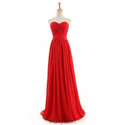 Red Colored Strapless Chiffon Bridesmaid Dresses, Flame A-line Floor Length Bridesmaid Gown With Train MD058