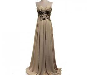 Earth Colored Pleated Chiffon Bridesmaid Dress, Neutral Color Strapless Long Bridesmaid Dresses, Full Length A-line Bridesmaid Gown MD022