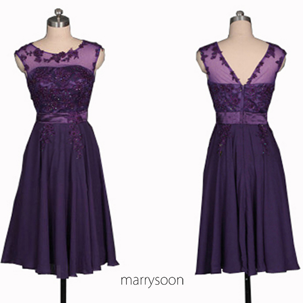 Royal purple bateau neck lace and chiffon short bridesmaid for Purple lace wedding dress