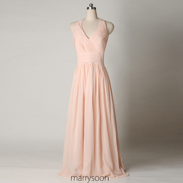 Rose Colored Halter Neck Chiffon Bridesmaid Dresses