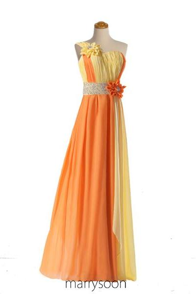 Amazing Orange Beaded Chiffon Prom Dresses, Floral One Shoulder Beaded Ombre Colored Prom Dress, A-line Empire Waist Prom Dresses 2016 MD021