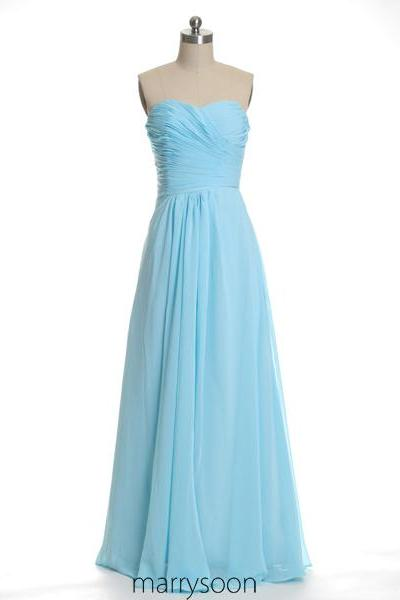 Blue Jay Pleated Long Chiffon Bridesmaid Dresses, Pastel Blue A-line Floor Length Bridesmaid Gown, Baby Blue Full Length Bridesmaid Dress MD050