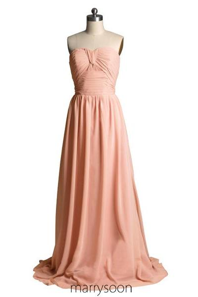 Rose Colored Strapless Chiffon Bridesmaid Dresses, Pastel Pink A-line Floor Length Sweetheart Neck Bridesmaid Gown,Peach Pink Full Length Bridesmaid Dress MD054