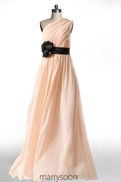 One Shoulder Rose Colored Chiffon Bridesmaid Dresses, Peach Pastel Pink A-line Floor Length Bridesmaid Gown With Black Waistband MD060