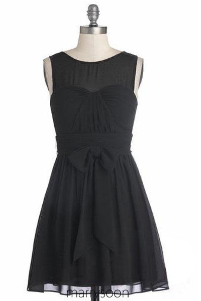 Black Knee-Length Chiffon A-Line Bridesmaid Dress Featuring Ruched Sweetheart Illusion Bodice, Bow Accent belt and Plunge V Back