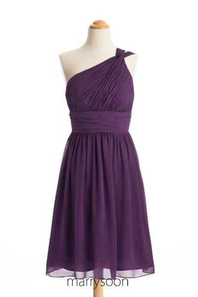 Aubergine Purple One Shoulder Short Bridesmaid Dresses, Single Shoulder Knee Length Dark Purple Bridesmaid Dress MD079
