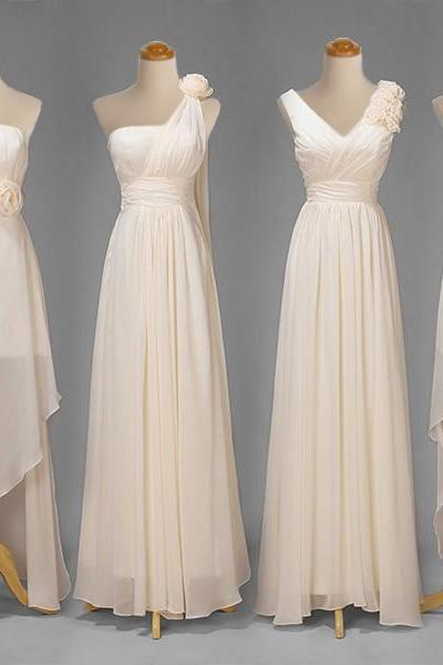 Light Champagne Mix And Matched Long Bridesmaid Dresses, V-neck, Strapless, Halter Neck, One Shoulder Long Bridesmaid Dresses MD144