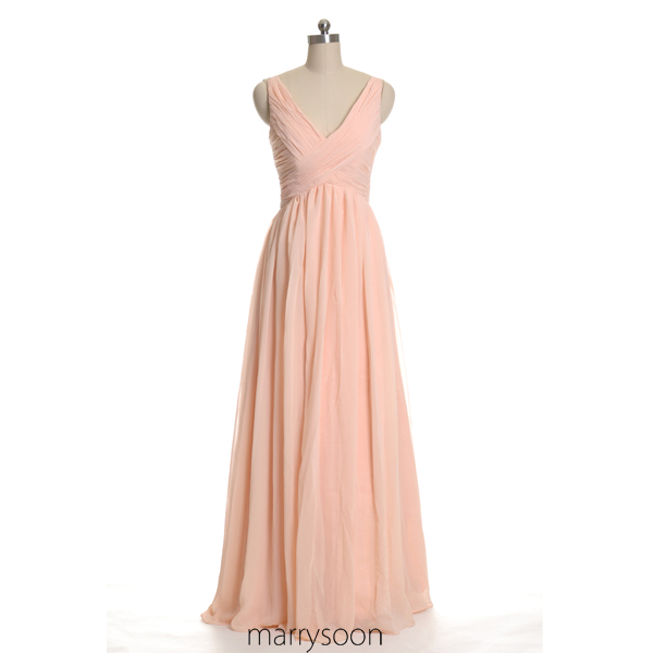Rose Colored V Neck Chiffon Bridesmaid Dresses Peach Pink